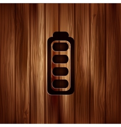 Full battery icon accumulator wooden texture vector