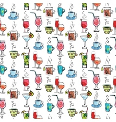 Seamless pattern with various drinks and cocktails vector