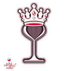 Elegant wineglass with king crown artistic goblet vector