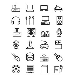 Computer hardware line icons 2 vector