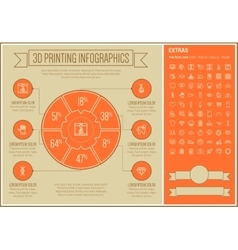 Three d printing line design infographic template vector