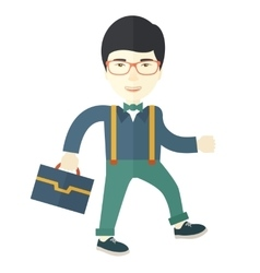 Young asian man walking with his briefcase vector