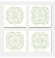 Hand drawn outline round ornament set of cards vector