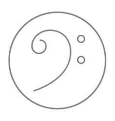 Bass clef line icon vector