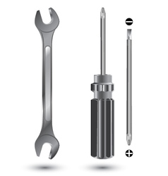 Screwdriver and wrench object tool isolated on vector