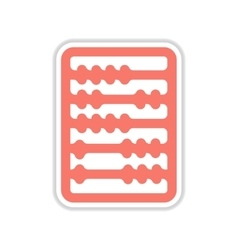 Paper sticker on white background abacus vector