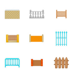 Architecture fences icons set cartoon style vector