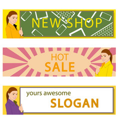 banners set of office girl announcing an offer vector image vector image
