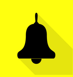 Bell alarm handbell sign black icon with flat vector