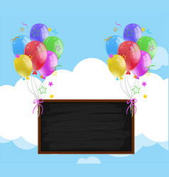 Blackboard with colorful balloons in sky vector
