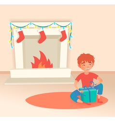 Boy with gift Christmas or New Year Near the vector image vector image