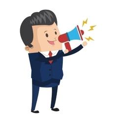 Businessman holding megaphone icon vector