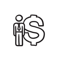 Businessman stands near dollar symbol sketch icon vector