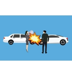 Car crash accident collision man woman standing vector