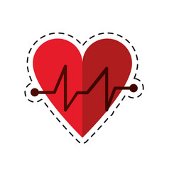 cartoon heart beat pulse cardiac medical icon vector image