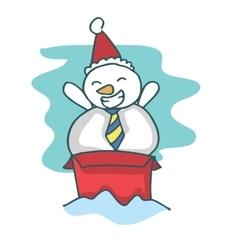 Cartoon snowman on the box vector