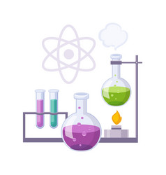 chemistry kit with test tubes and chemicals set vector image vector image