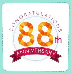 Colorful polygonal anniversary logo 3 088 vector