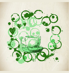 Cup of fresh green tea with tea stai vector