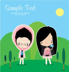 Cute cartoon people vector image vector image