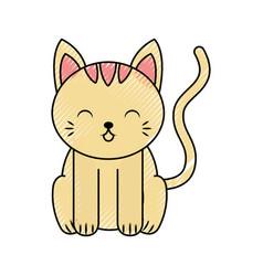 Cute scribble cat cartoon vector