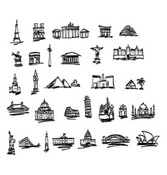 doodle landmarks and famous places in the world vector image