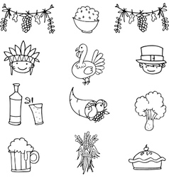 Doodle of object thanksgiving set vector image