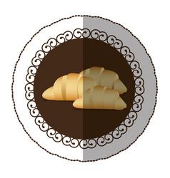 Emblem color croissant bread icon vector