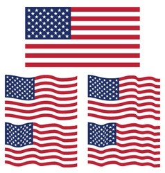 Flat and Waving Flag Of United State of America vector image