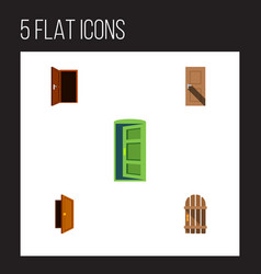 flat icon door set of frame entrance wooden vector image vector image