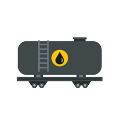 Gasoline railroad tanker icon flat style vector