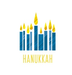 hanukkah juish jewish menorah simple icon hanuka vector image