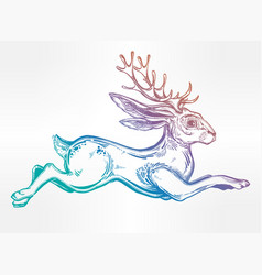jacalope magical creature running or jumping vector image vector image