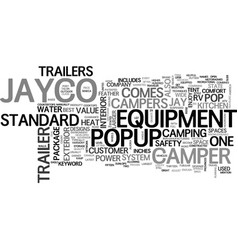 Jayco popup trailer text background word cloud vector