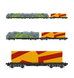 Locomotive with orange cargo container vector