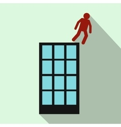 Man falling down of building icon flat style vector