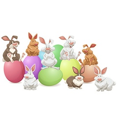 Many rabbits on colorful eggs vector image vector image