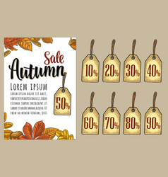 poster sale autumn lettering with set leaf vector image vector image