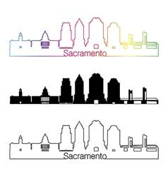 Sacramento V2 skyline linear style with rainbow vector image