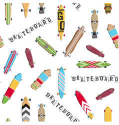 seamless pattern skateboard and longboards vector image vector image