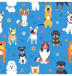 Seamless pattern with dogs flat design vector image vector image