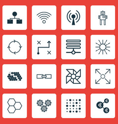 set of 16 artificial intelligence icons includes vector image