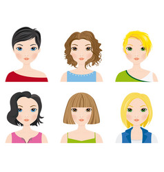 set of female avatars vector image vector image