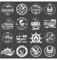 set of seafood labels and signs vector image vector image