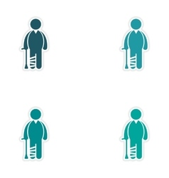Set of stickers man with broken leg on white vector