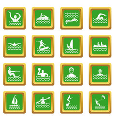 Water sport icons set green vector