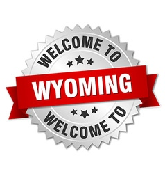 Wyoming 3d silver badge with red ribbon vector