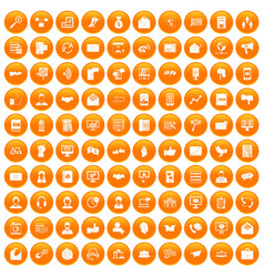 100 interaction icons set orange vector