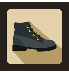 Gray boot icon in flat style vector