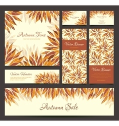 Set of banners headers with autumn leaves vector